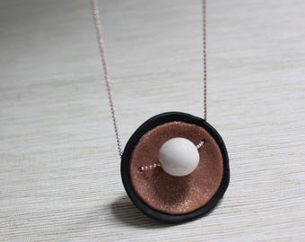 Handmade Polymer clay Disk and Ball necklace-made by Claycious