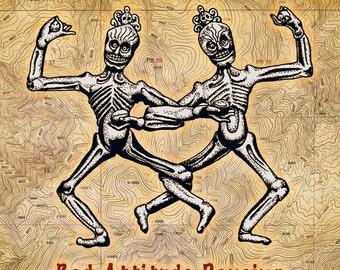 """SKELETONS DANCING: """"Bad Attitude Dancing"""" Art Print, 6x6 image in 8x10 mat"""