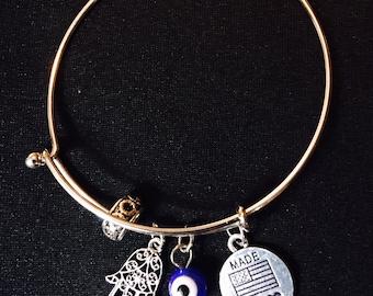 Nickel, lead, and cadmium free Hamsa Hand and Evil Eye charm bracelet