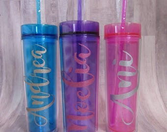Personalized Glitter Skinny Tumbler - Monogrammed Tumbler - Bridal Party Gifts - Wedding Party Gifts - Christmas Gift for Coworkers