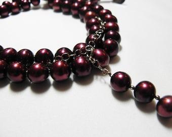 Freshwater pearl necklace, cranberry - Karpalonpunainen helminauha