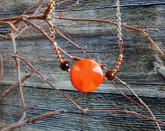 Orange Copper and Silver Statement Necklace