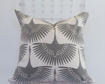 Grey and White Printed Decorative Pillow 18x18