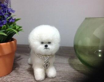 Needle felted dog pet bichon