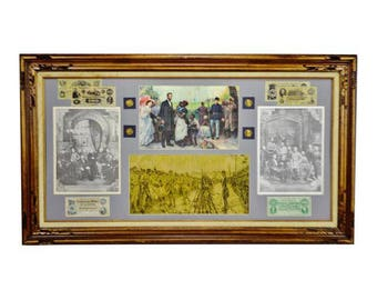 Vintage Framed Collage of Reproduction Civil War Ephemera