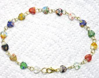 """Colorful Millefiori Glass Flowered Heart Gold Anklet 10.5"""", Heart Anklet, Millefiori Anklet, 10.5"""" Anklet, Beaded Anklet, UniqueJewelryByJen"""