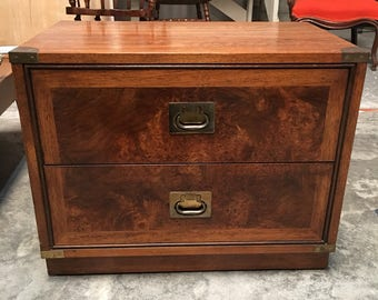 Hickory Furniture Burlwood Vintage Campain Chest Side Table