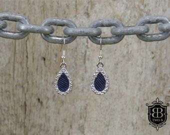 From dark blue Denim Jeans diamond earrings