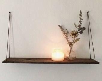 Walnut Finish Reclaimed Floating Wood Shelf Modern