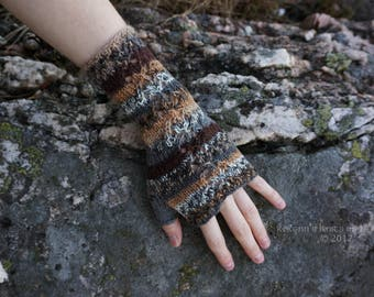 Brown and Grey Multicoloured Knitted Fingerless Gloves