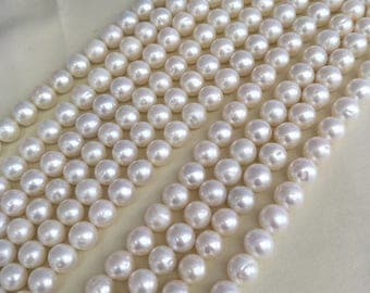 9-10.5 Button Round  Freshwater Pearl,Near round pearl Very high luster,Freshwater Pearls-White Color.