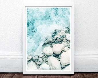 Coastal Print, Beach Decor, Photo Wall Art, Ocean Print, Coastal Beach Nautical Decor, Large Print, Blue, Beach House Decor, Stones