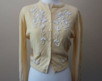 Vintage 1960s yellow cardigan with white beading by Blairmoor Original