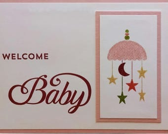 Baby Shower Card, Handmade Card, Stampin Up Baby Card, Baby Girl, Pink Baby Card, Welcome Baby, Greeting Card