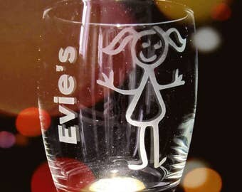 Hand etched family glasses