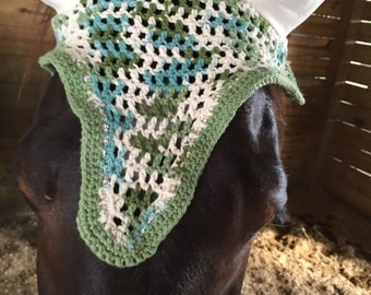 Horse Crochet Fly Bonnet, multi color with crystals