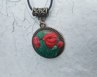 Poppy  Floral Pendant, Floral jewelry, Polymer Clay applique, Floral necklace polymer clay necklace pendant necklace poppy troll