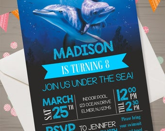 Dolphin Invitation Dolphin Birthday Party Dolphin Invite Dolphin Party Supplies Dolphin Printables Dolphin Birthday Invitation Under the Sea