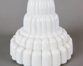 Vintage Milk Glass Skyscraper Wedding Cake Style Table Lamp Base