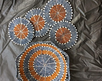 Hand beaded coasters with matching basket