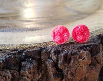 12mm red faux druzy nugget cabachon, titanium post