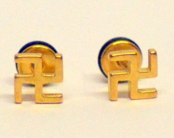 Pair of Hinduism Budhism stud earring for good fortune luck 6mm Gold