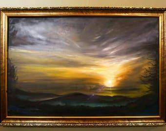Sun Rise  ,By Eunistt,40 x 60 cm oil painting, Living Room Decor, Palette Knife Painting, Modern Oil Painting