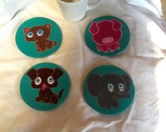 Cute animal coasters X 4