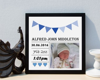 Personalised New Baby Boy Bunting Date of Birth Christening Framed Print