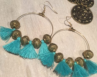 Earrings Bohemian ethnic green and bronze