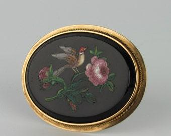 14K Victorian Grand Tour Micro Mosaic Micromosaic Brooch of Bird & Flowers