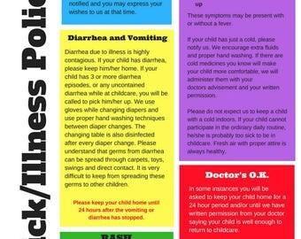 Daycare form | Etsy