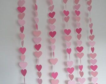 Ombre Heart Garland, Party Decor, Wedding Decor, Paper/Card Garland, Decoration