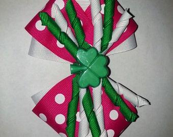 Pink Polka Dot St Patricks Day Bow