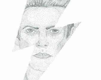 David Bowie pointillist print