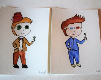 Doctor Who 10th doctors 11th set original watercolor painting