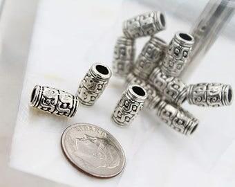 Barrel Large Hole  Silver Beads
