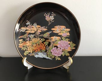 Vintage, Black Japanese Plate, Oriental Decor, Cherry Blossom, Love Birds,Ceramic Black Plate,Wall Plate,Home Decor, Made In Japan,Porcelain