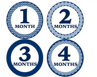 Customized Blue Monthly Onesie Stickers