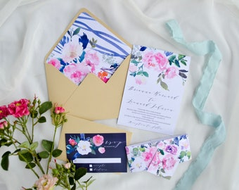 Printable Watercolor Wedding Invitation, Whimsical Wedding, Floral Printable Invites