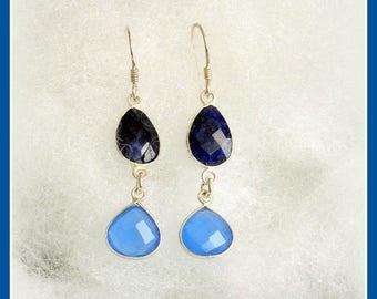 Physical energy, balances the body, emotions, mind and spirit earrings chalcedony gemstone silver lapis lazuli lapis lazuli law