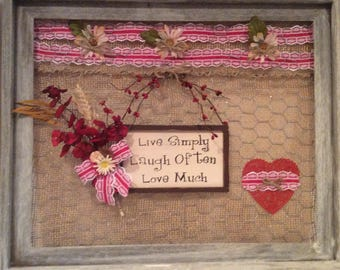 """Rustic Barnwood Framed Art with saying """"Live Simple Laugh Often Love Much"""""""
