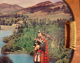 Two Scotland Vintage Souvenir Serving Trays - Scenic with Bagpiper