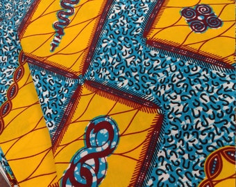 Blue & Yellow Wax Print/African Print/Ankara (6 yards)