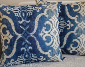 "Vintage Style Batik Indigo 100% Linen Cushion Cover. 17"" x 17"" pure linen printed oriental style cushion."