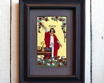 The Magician, Fabric Tarot Card Art, 3x5 inch, matted, unframed, mixed media, made to order