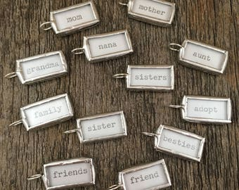 Family Words Soldered Glass Word Sticks - Boho Chic Positive & Aspirational words silver