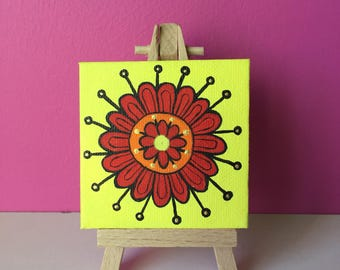 mini canvas,mini easel,mandala art,flower painting,colourful,home decor,girls room decor,yellow,red,original acrylic painting,gifts for her