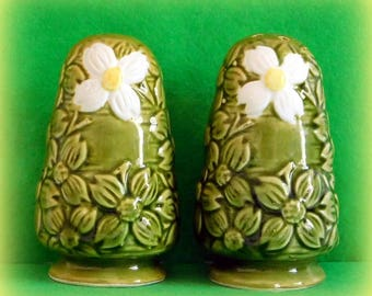1970's Avocado Green Salt and Pepper Shakers with Dogwood Flowers