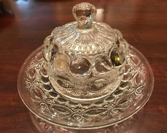 Heavy Early American Pressed glass covered butter dish